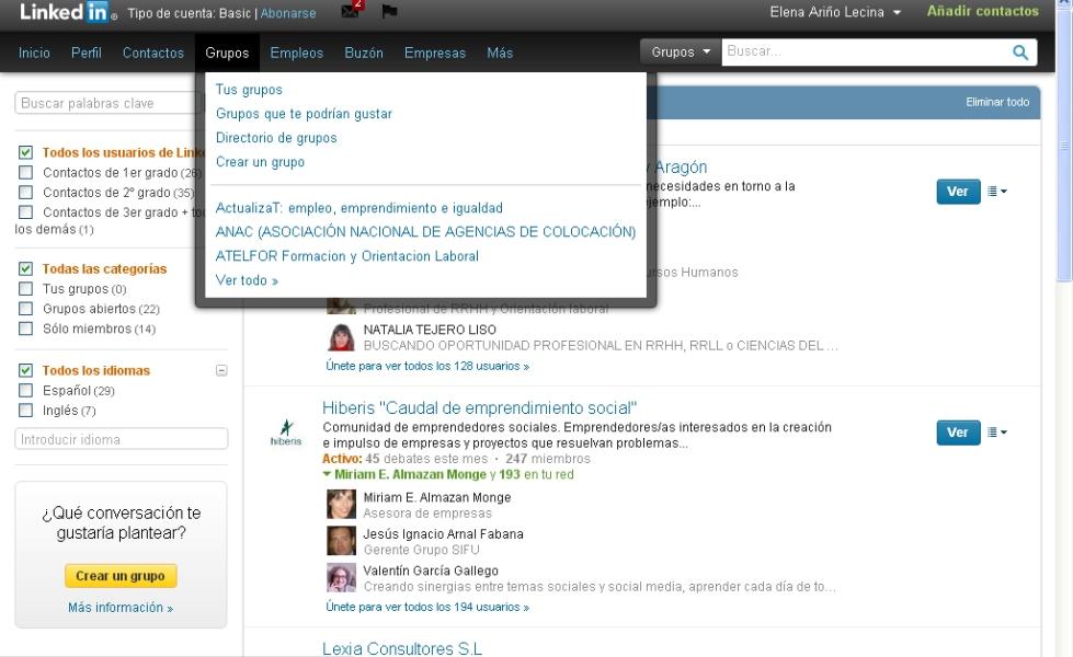 buscar grupos en linkedin