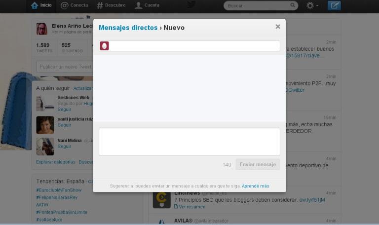 Enviar un mensaje directo en twitter