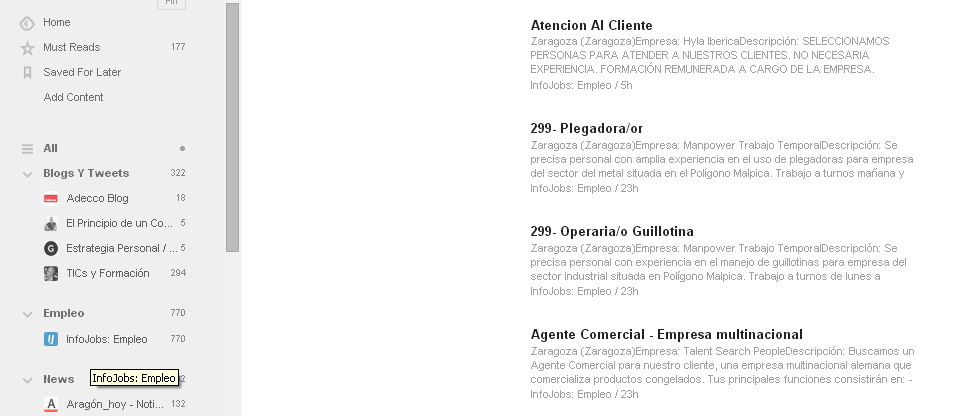 infojobs ofertas feedly